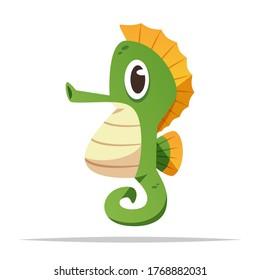 Cartoon seahorse vector isolated illustration