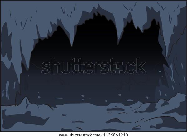 Cartoon Seamless Background Dark Cave Stalactite Stock Vector Royalty Free 1136861210