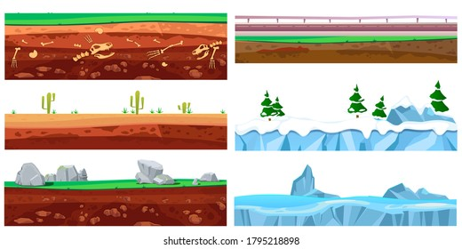 Cartoon seamless landscape. Grounds layers texture. Illustration of a set of seamless grounds, soils and land foreground area with grass, snow, rock, desert and sand. Vector illustration