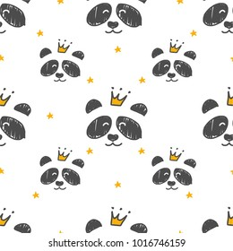 Cartoon Seamless Panda Princess pattern. Use for print design, surface design, fashion kids wear.