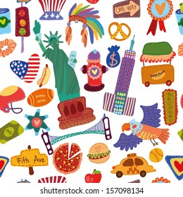 Cartoon seamless pattern with American elements. Seamless pattern can be used for wallpaper, pattern fills, web page background,surface textures.