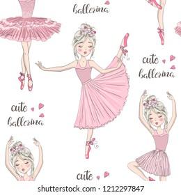 Cartoon seamless pattern with beautiful, lovely, little ballerinas girl. Vector illustration.