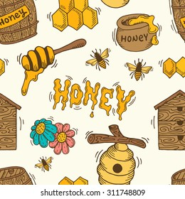 Cartoon seamless pattern with bees, honey, honeycomb and beehive.