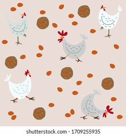 Cartoon seamless pattern with chicken and eggs on a beige background vector illustration. Children texture pattern.