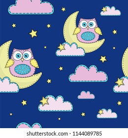 Cartoon Seamless Pattern Color Vector Illustration NIGHT OWL Paper for Birthday and Party, Wall Decorations, Scrapbooking, Baby Book, Photo Albums and Card Print