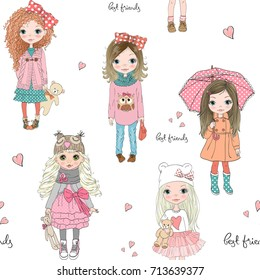Cartoon seamless pattern with cute little girls. Vector illustration.