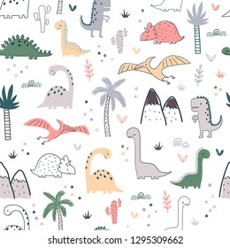 Cartoon seamless pattern with dinosaurs and palm trees. Vector illustration for kids. Use for print design, surface design, fashion kids wear