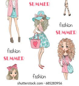 Cartoon seamless pattern with fashion summer cute girls.