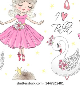 Cartoon seamless pattern with hand drawn beautiful, lovely, little ballerinas girl and cute swan. Vector illustration.