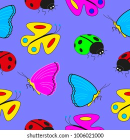 Cartoon seamless pattern with insects butterflies and ladybugs.