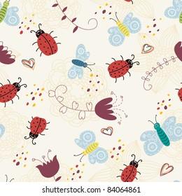 cartoon seamless pattern with ladybirds and butterflies