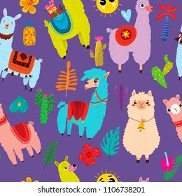Cartoon seamless pattern with llama, alpaca, cactus and leaves. Background can be used for wallpapers, pattern fills, surface textures.