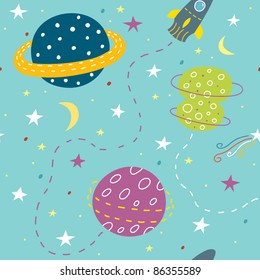 cartoon seamless pattern with planets