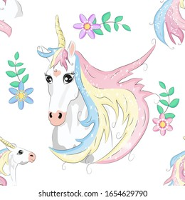 Cartoon seamless pattern. Unicorn with rainbow and clouds, designed print.