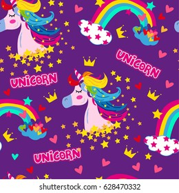 Cartoon seamless pattern. Unicorn with rainbow and stars and crown and hearts. For designed print on fabric and textile, Web. For girl