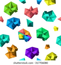 Cartoon seamless pattern, vector endless background with polygonal shapes