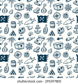 Cartoon seamless pirate pattern. Hand drawn pirate pattern made in vector. Map,  flag, key, shark,  anchor, spyglass, roger, treasure, ahoy, bone, money, rum, bottle, palm, cannonball and other.