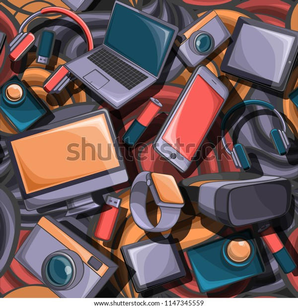 a cartoon seamless set of doodles on a gadget theme. Colour, detailed. All objects are separate. Vector illustration.