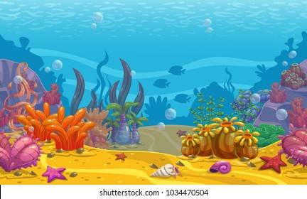 Cartoon seamless underwater background. Ocean bottom nature. Vector illustration.