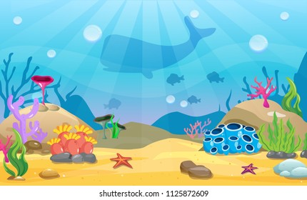Cartoon seamless underwater background. Ocean bottom nature. Vector illustration.