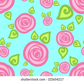 Cartoon seamless wallpaper pattern with abstract pink roses on blue background, vector illustration.