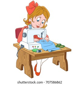 Cartoon seamstress (tailor), working on electric sewing machine. Colorful book page design for kids and children.