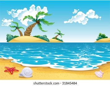 Cartoon seascape. Vector illustration, isolated objects