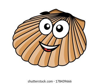 Cartoon seashell with a happy smile and the fan shaped shell of a typical mollusk