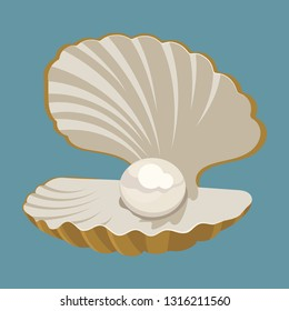Cartoon seashell with a pearl. Seashell. Vector illustration of a clam. Drawing for children.