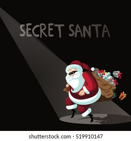 Cartoon Secret Santa background with Santa Claus sneakily delivering gifts while wearing a mask. EPS 10 vector.