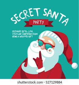 Cartoon Secret Santa Christmas party background template with Santa Claus shushing you with his finger. EPS 10 vector.