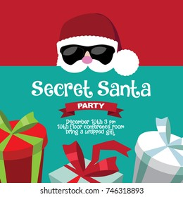 Cartoon Secret Santa Christmas party background template. EPS 10 vector.