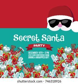 Cartoon Secret Santa Christmas party background template. EPS 10 vector.