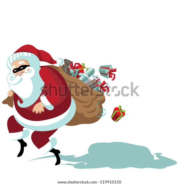 Cartoon Secret Santa illustration with Santa Claus sneakily delivering gifts while wearing a mask. EPS 10 vector.