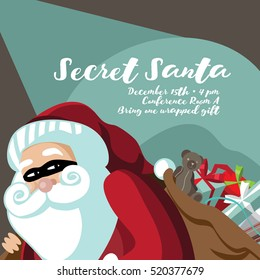 Cartoon Secret Santa invitation template with Santa Claus sneakily delivering gifts while wearing a mask. EPS 10 vector.