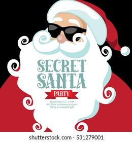 Cartoon Secret Santa invitation template with Santa Claus. EPS 10 vector.