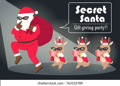 cartoon secret santa on the black background