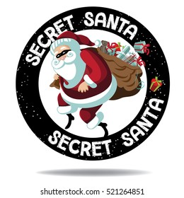 Cartoon Secret Santa stamp icon. Santa Claus sneakily delivering gifts while wearing a mask for Secret Santa party. EPS 10 vector.