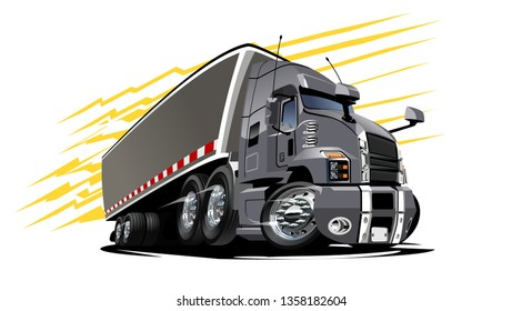 Cartoon semi truck. Available EPS-10 vector format separated by groups and layers with transparency effects for one-click repaint