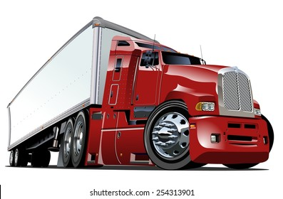 Cartoon semi truck. Available eps-10 vector format separated by groups with transparency effects for one-click repaint