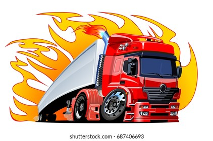 Cartoon semi truck. Available EPS-10 vector format separated by groups and layers for easy edit