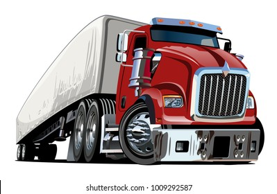 Cartoon semi truck isolated on white background.