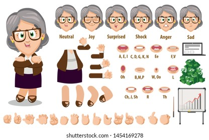 Cartoon senior businesswoman constructor for animation. Parts of body: legs, arms, face emotions, hands gestures, lips sync. Full length, front, three quater view. Set of ready to use poses, objects.