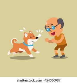 Cartoon a senior man playing with his shiba inu dog