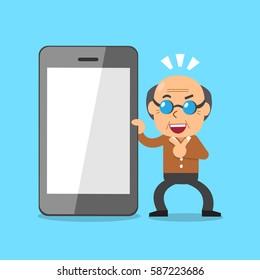 Cartoon senior man and smartphone