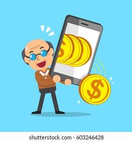 Cartoon senior man using smartphone to earn money