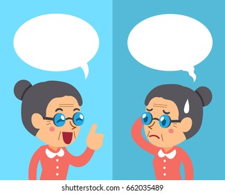 Cartoon senior woman expressing different emotions with speech bubbles