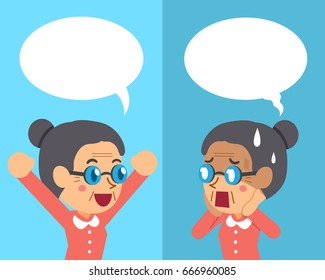 Cartoon a senior woman expressing different emotions with speech bubbles