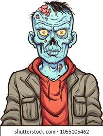 Cartoon serious zombie. Vector clip art illustration with simple gradients. Head and body on separate layers.