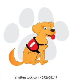Cartoon service dog sitting on a paw background